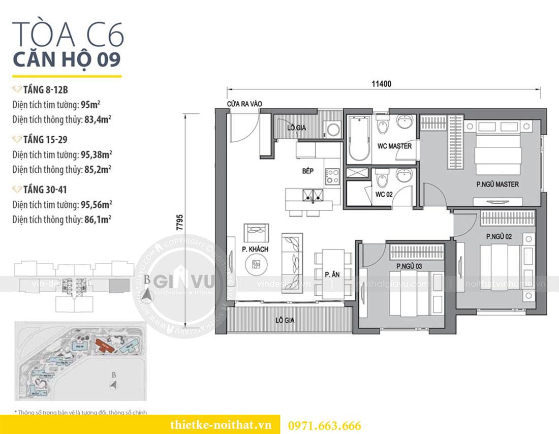 Mặt bằng thiết kế nội thất chung cư Dcapitale căn hộ 83m2 đẹp hiện đại
