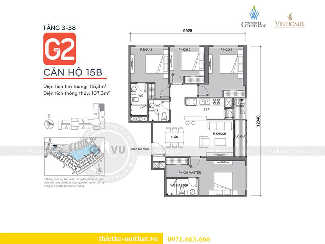 Mặt bằng thiết kế thi công nội thất căn hộ cao cấp Vinhomes Green Bay - chị Yến