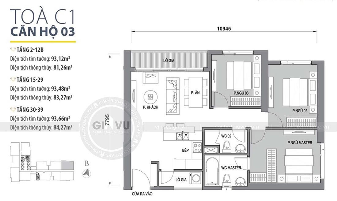 Mặt bằng trải nghiệm không gian nội thất căn 3 phòng ngủ rộng 81m2
