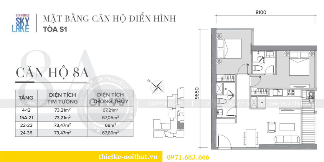 Mặt bằng triển khai thi công nội thất chung cư Skylake căn S10608A - chị Trang