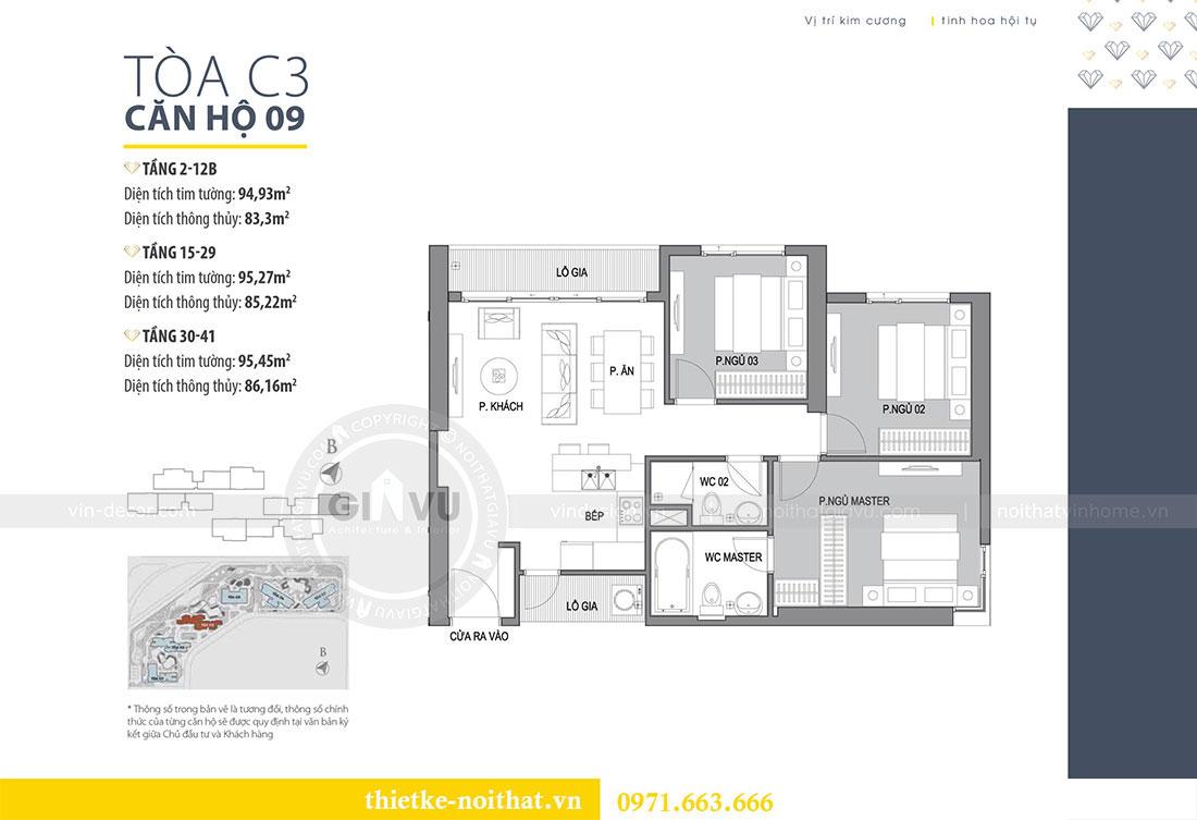 Mặt bằng bố trí thiết kế nội thất chung cư tòa C3 căn 09
