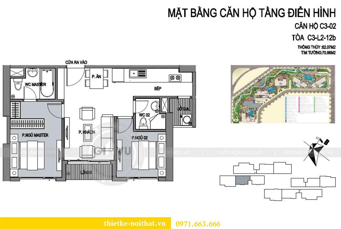 Mặt bằng thiết kế nội thất căn hộ 02 tòa C3 chung cư Dcapitale - chị Phương