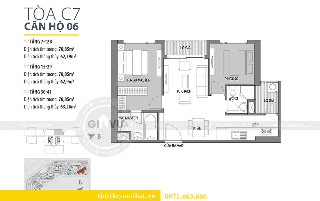Mặt bằng thiết kế nội thất căn hộ 06 tòa C7 chung cư Dcapitale