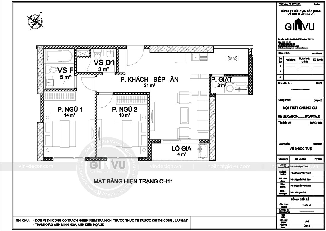 Mặt bằng bố trí nội thất chung cư Dcapitale tòa C3 căn 11