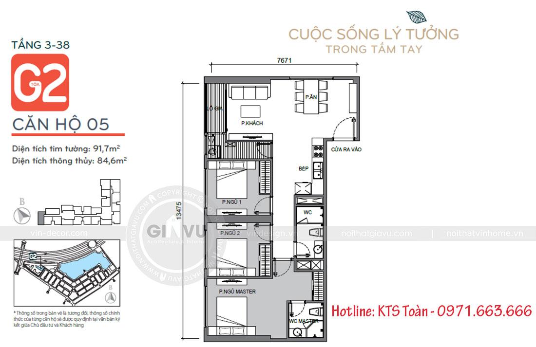 Mặt bằng công năng căn hộ 05 tòa G2 chung cư Green Bay