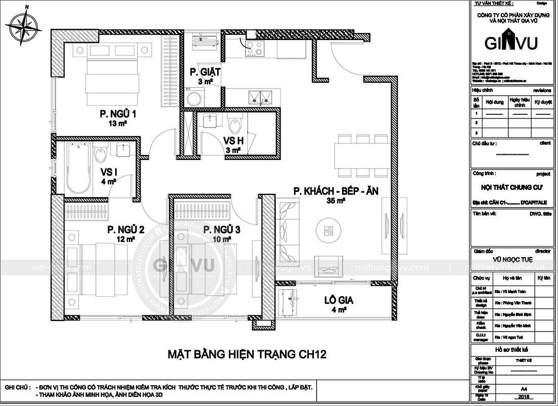 Mặt bằng hiện trạng căn 12 tòa C7 chung cư Dcapitale