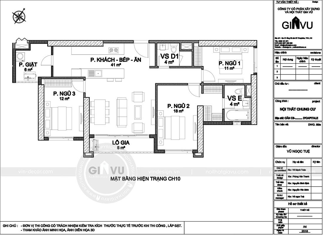 Mặt bằng thiết kế nội thất căn hộ 10 tòa C3 chung cư Dcapitale - anh Kiên