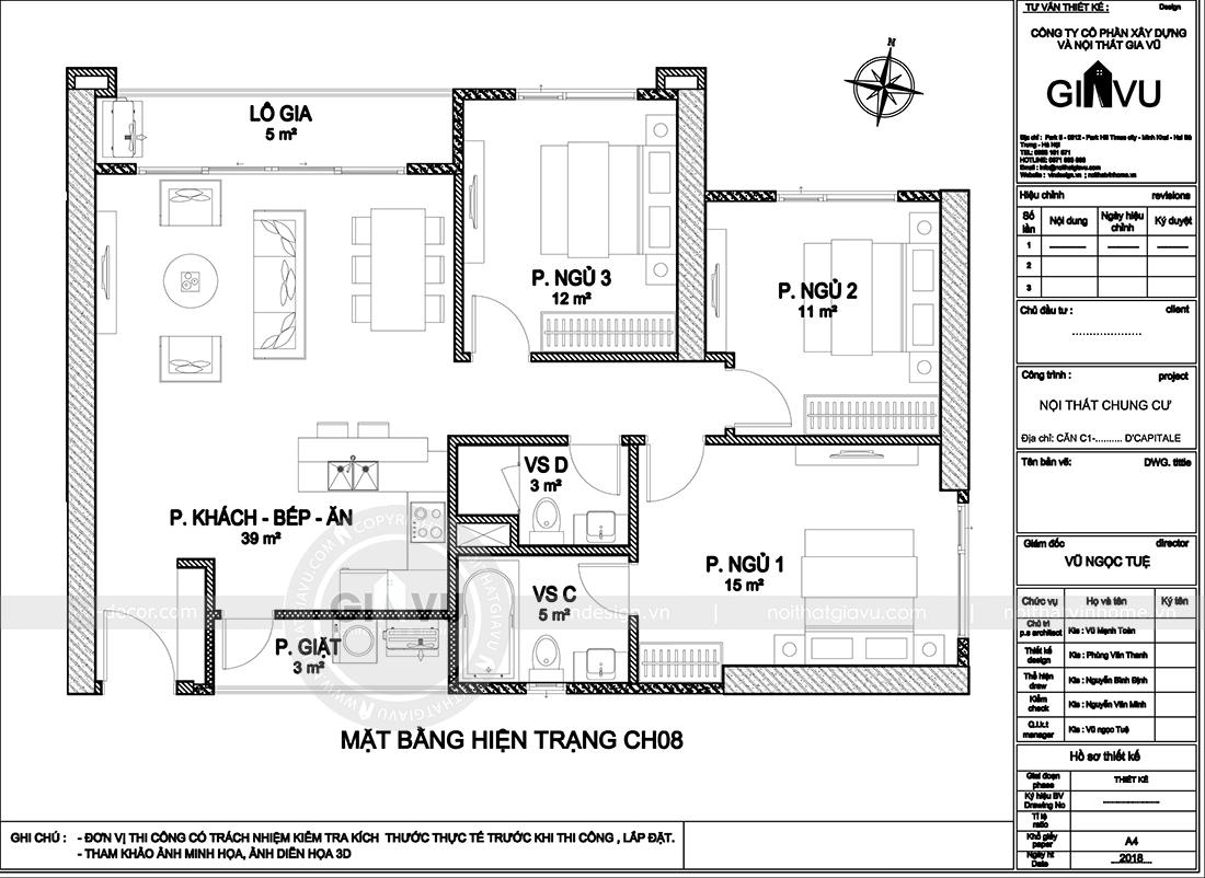 Mặt bằng t5hiết kế nội thất chung cư sang trọng tại Vinhomes Dcapitale - anh Trung