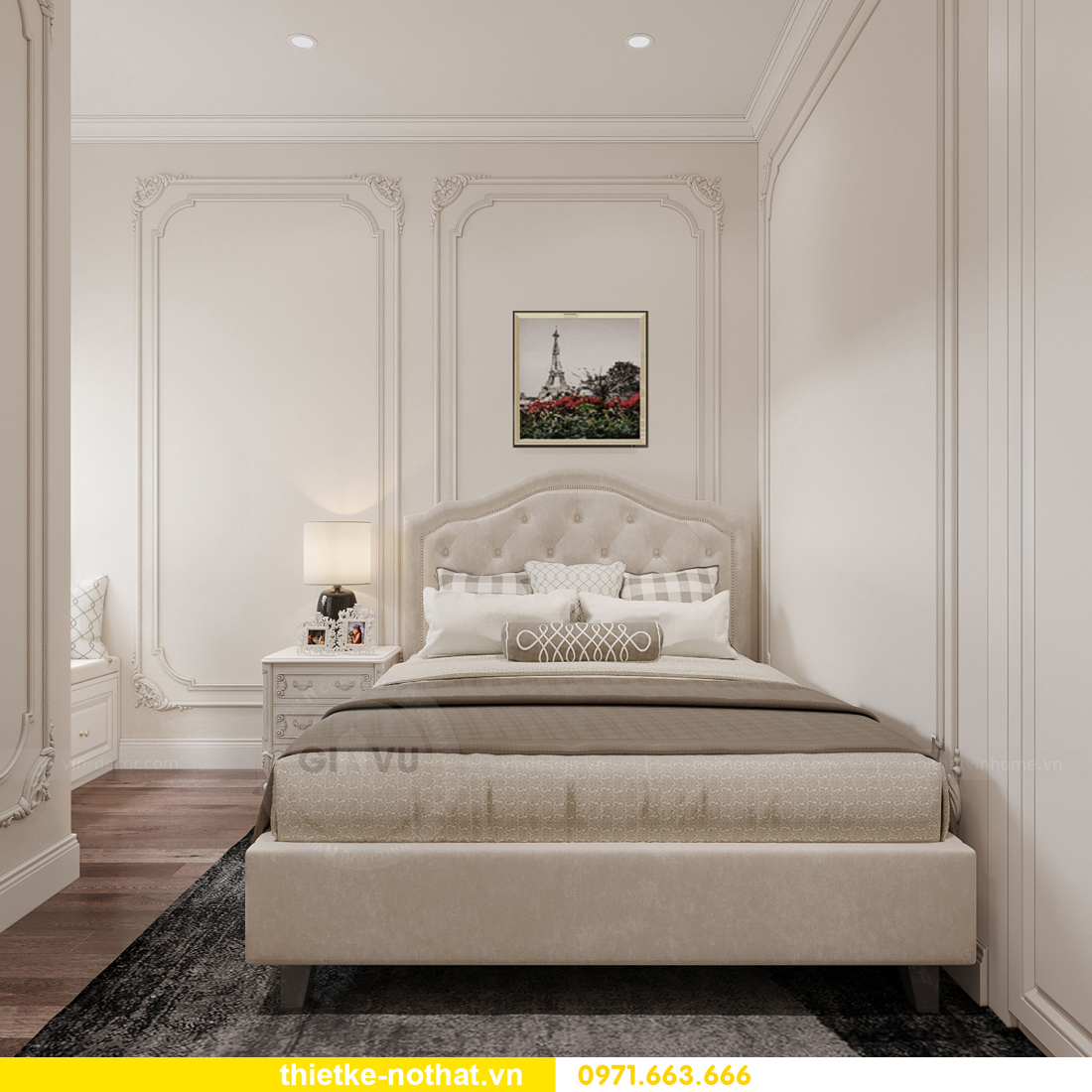 thiết kế nội thất chung cư tân cổ điển tại Vinhomes Green Bay 13