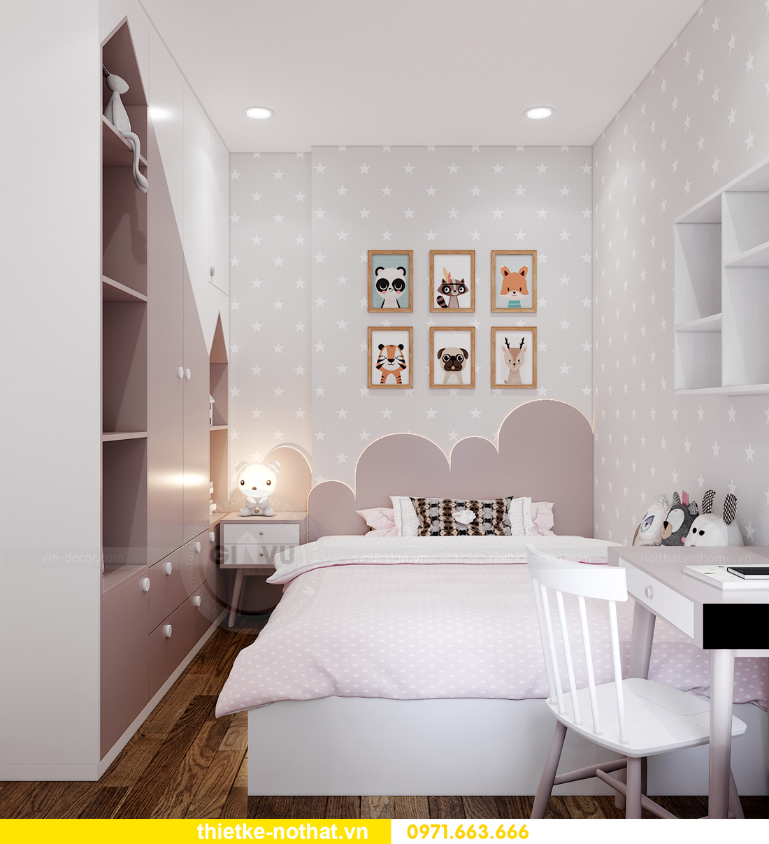 thiết kế nội thất căn hộ 2 phòng ngủ tại Vinhomes Smart City 10