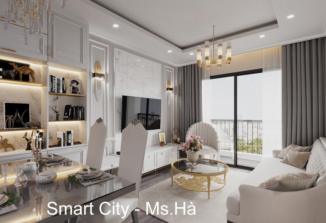Thiết kế nội thất căn hộ chung cư Smart City nhà chị Hà