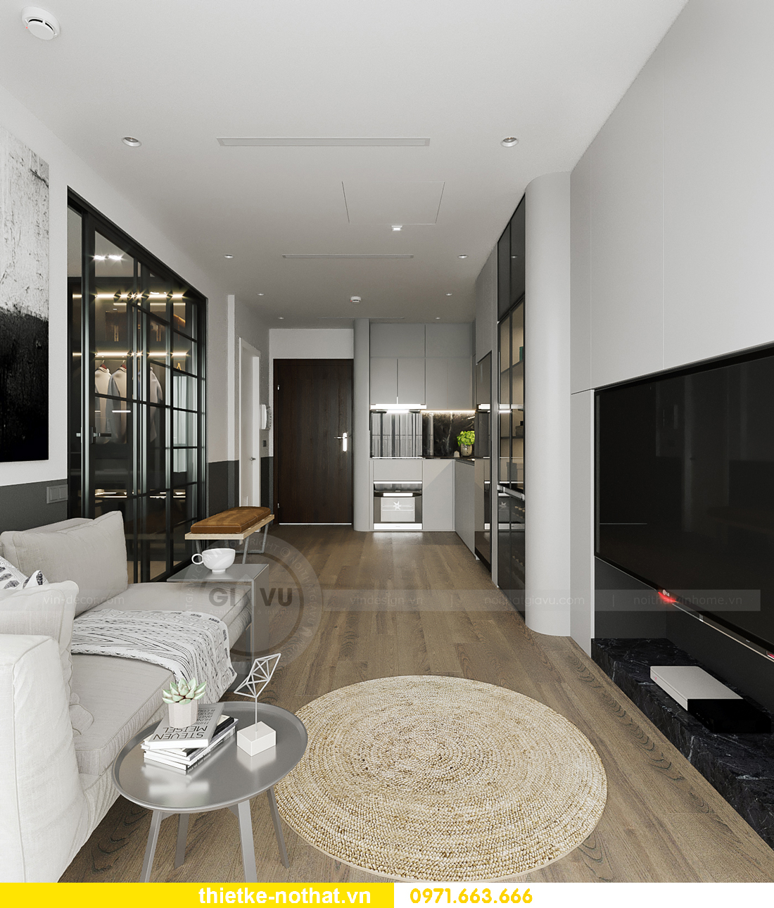 thiết kế nội thất căn hộ chung cư Smart City tòa S102 căn 09 6
